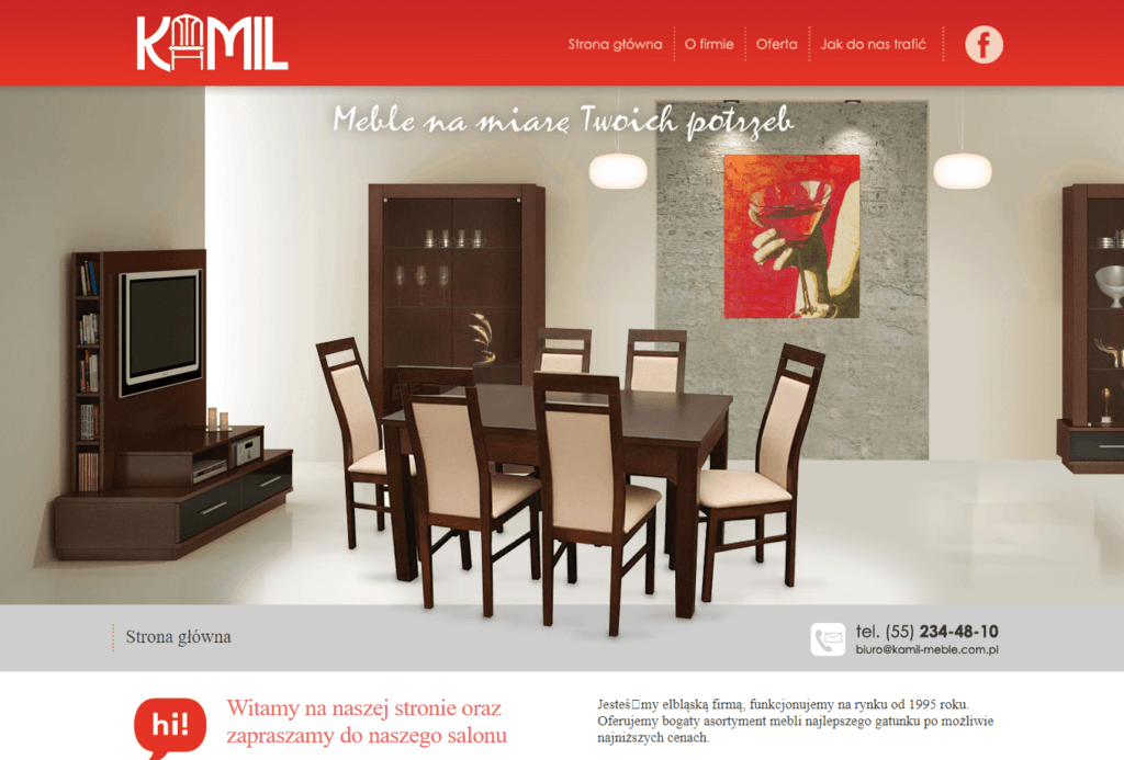 Strona internetowa www.kamil-meble.com.pl